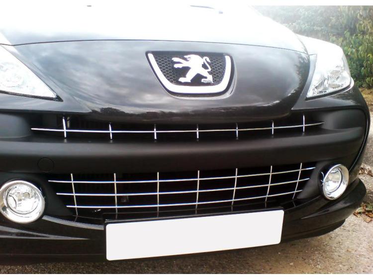 Chromleiste für Kühlergrill Peugeot 207 06-09 Peugeot 207 CC 06-09 Peugeot 207 SW 06-09