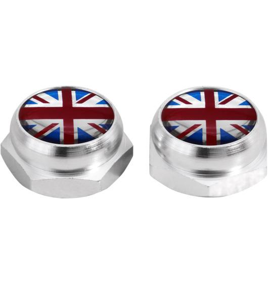Cache-rivets pour plaque d'immatriculation drapeau Angleterre Royaume-Uni Anglais (argent)