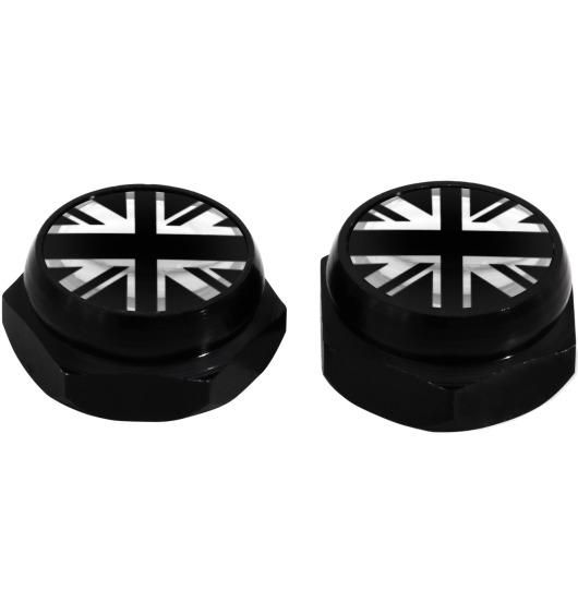 Cache-rivets pour plaque d'immatriculation drapeau Angleterre Royaume-Uni Anglais (noir) noir & chro