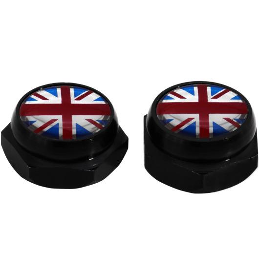 Cache-rivets pour plaque d'immatriculation drapeau Angleterre Royaume-Uni Anglais (noir)