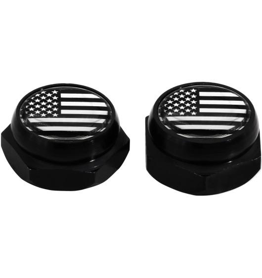 Cache-rivets pour plaque d'immatriculation Etats-Unis USA Amérique (noir) chrome