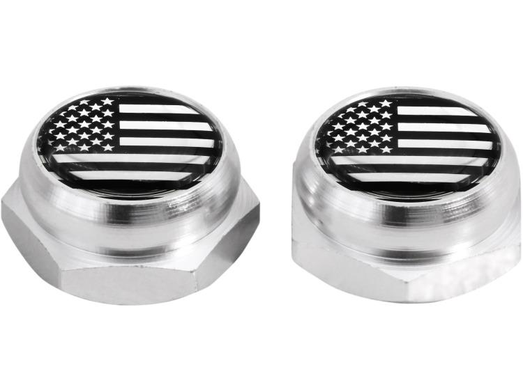 Cappucci per rivetti per targa di immatricolazione USA Stati Uniti d'America (argenteo) cromo