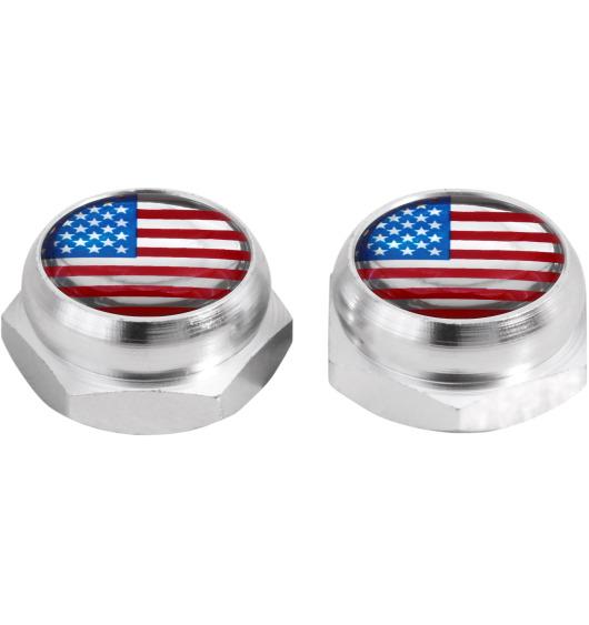 Cappucci per rivetti per targa di immatricolazione USA Stati Uniti d'America (argenteo)