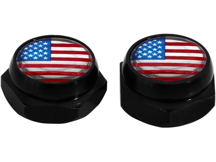Cappucci per rivetti per targa di immatricolazione USA Stati Uniti d'America (nero)