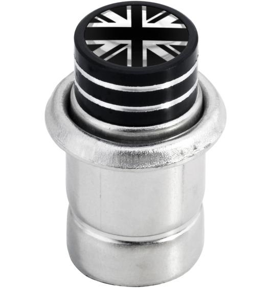 "Cigarette lighter English Flag UK England British Union Jack ""short"" black & chrome"