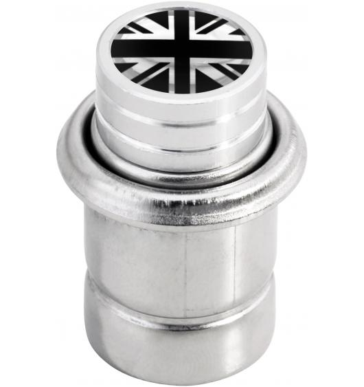 "Cigarette lighter English Flag UK England British Union Jack ""short"" black & chrome"