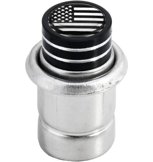 "Cigarette lighter USA United States of America ""short"" black & chrome"
