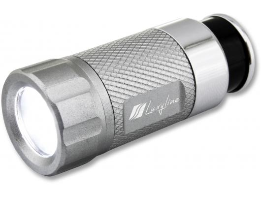 LED flashlight rechargeable on the cigarette lighter silver gray