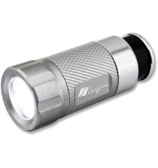 LED-Taschenlampe, aufladbar am Zigarettenanzünder silbergrau