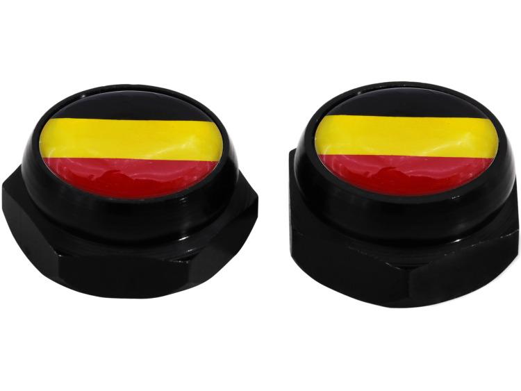 Nietenkappen für Nummernschilder Deutsche Deutschland Flagge (schwarz)
