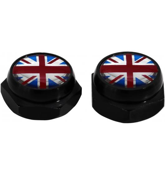 Nietenkappen für Nummernschilder England-Fahne Vereinigtes Königreich Englisch British (silber)