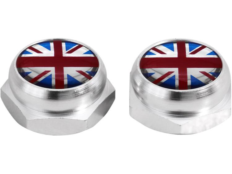 Nietenkappen für Nummernschilder England Vereinigtes Königreich Englisch British Union Jack (silber)