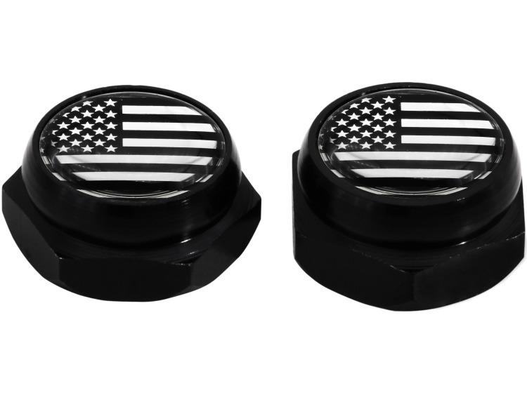 Nietenkappen für Nummernschilder USA Vereingite Staaten Amerika (schwarz) chromfarbig