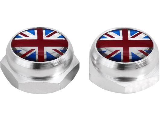 RivetCovers for Licence Plate English Flag UK England British Union Jack black