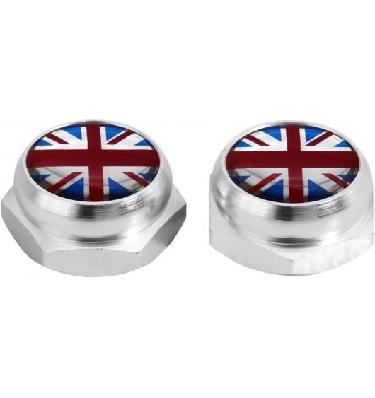 Rivet-Covers for Licence Plate English Flag UK England British Union Jack (silver)