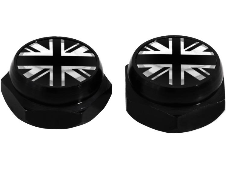 Rivet-Covers for Licence Plate English UK England British Union Jack (black) black & chrome