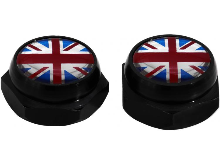 Rivet-Covers for Licence Plate English UK England British Union Jack (black)