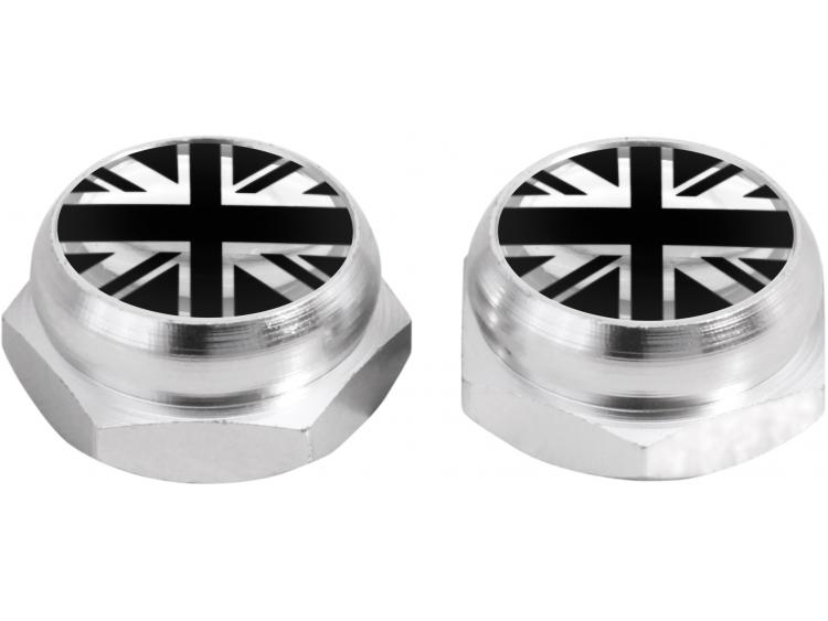 Rivet-Covers for Licence Plate English UK England British Union Jack (silver) black & chrome