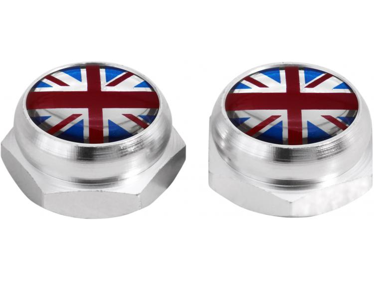 Rivet-Covers for Licence Plate English UK England British Union Jack (silver)