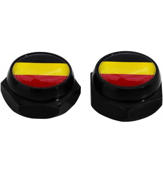 Rivet-Covers for Licence Plate Germany German flag (black)