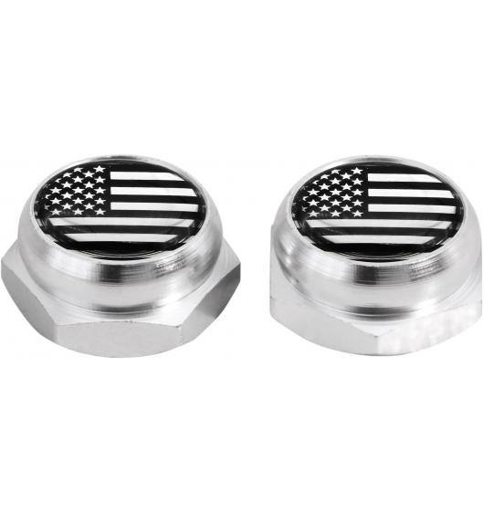 Rivet-Covers for Licence Plate USA United States of America (black) chrome