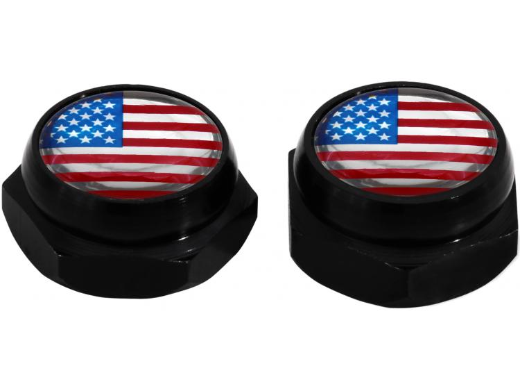 Rivet-Covers for Licence Plate USA United States of America (black)