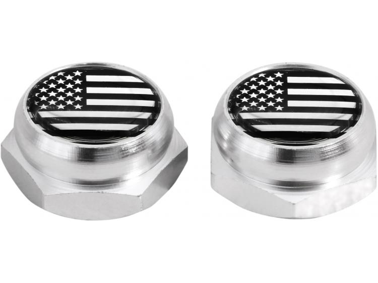 Rivet-Covers for Licence Plate USA United States of America (silver) chrome
